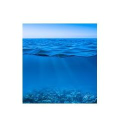Foto naklejka samoprzylepna 100 x 100 cm - Nadal spokojna powierzchnia wody morskiej z jasnego nieba i Worl podwodnego