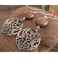 ECO - srebrne kolczyki z bronzytem