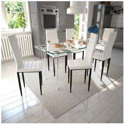6 wysokich, białych krzeseł do jadalni + stół ze szklanym blatem Zapisz się do naszego Newslettera i odbierz voucher 20 PLN na zakupy w VidaXL!