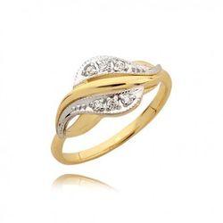 Zaręczynowy pierścionek z białego i żółtego złota z cyrkoniami