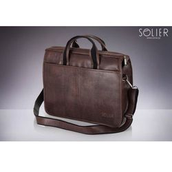 Klasyczna męska torba na ramie, na laptop SOLIER S13 ciemny brąz