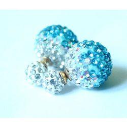 Kolczyki TRIBAL shamballa błękitno-białe