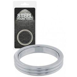 Steel Power Tools Acorn Ring Ribbed 45 mm Pierścień na penisa ze stali nierdzewnej