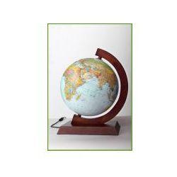 Globus 250 fizyczno-polityczny poświetlany oprawa drewniana