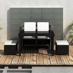 vidaXL Meble Rattanowe (Stół + 2 Krzesła Taborety) Czarne Darmowa wysyłka i zwroty