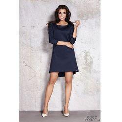 Granatowa Minimalistyczna Sukienka z Dłuższym Tyłem