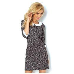 111-1 Sukienka z OKRĄGŁYM kołnierzykiem - wzór sweterkowy