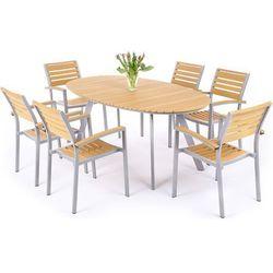 Meble ogrodowe HOME&GARDEN 411508 Lorenzo aluminiowe Srebrno-Teak + DARMOWY TRANSPORT!