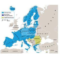 Obraz Obszar Schengen na mapie politycznej Europy. Wszystkie dane są w warstwach na łatwe edytowanie map wektorowych. Tło