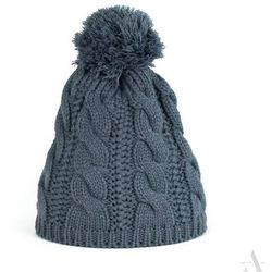 6a9e2431cd061 Ocieplana zimowa czapka damska z warkoczykami i pomponem ciemny szary -  szary