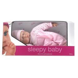 Lalka bobas 30 cm sleepy baby różowa