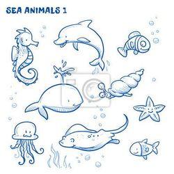 Naklejka Cute cartoon zwierząt wody morskiej. Ilustracja rysowane ręcznie doodle wektora.