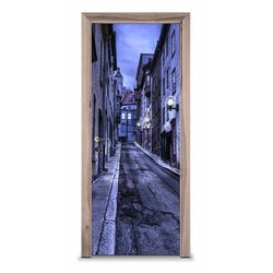 Naklejka na drzwi - Stara ulica w nocy 7247