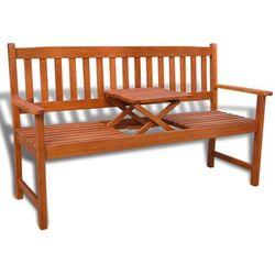 vidaXL Drewniana ławka z wyciąganym stolikiem Darmowa wysyłka i zwroty