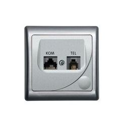 Ospel Efekt Gniazdo komputerowo-telefoniczne RJ 45, kat. 5e, (8-stykowe) + RJ 11 (6-stykowe) - Srebro - GPKT-F/K/18