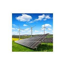 Foto naklejka samoprzylepna 100 x 100 cm - Panele solarne z turbin wiatrowych