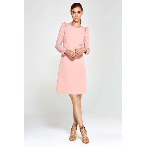 0dd8c5f63b Różowa Sukienka Trapezowa z Falbankami na Ramionach - porównaj zanim ...