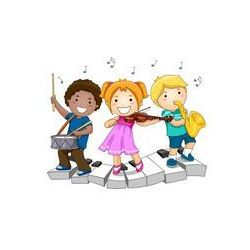 Foto naklejka samoprzylepna 100 x 100 cm - Dzieci grają na instrumentach muzycznych