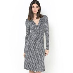 Portfelowa sukienka ze stretchem, długie rękawy, rozszerzany dół