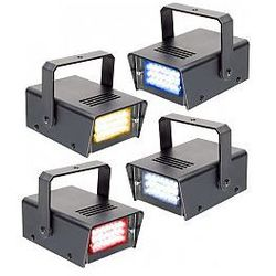 BeamZ LED Mini Strobe Set 4pcs. W/R/Y/B, zestaw mini stroboskopów