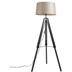 Lampa podłogowa Tripod czarna z kloszem 45cm lniany, szarobrązowym