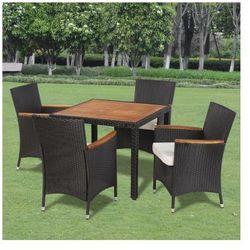 Wiklinowy zestaw ogrodowy 4 krzesła i stół z drewnianym blatem Zapisz się do naszego Newslettera i odbierz voucher 20 PLN na zakupy w VidaXL!