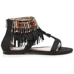 Płaskie sandały boho Alita - czarny