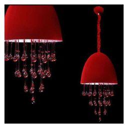 LAMPA wisząca LA MORENA LDP 7009C RD Lumina Deco halogenowa OPRAWA z kryształkami crystal czerwony