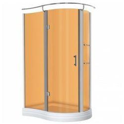 KERRA NERO Kabina prysznicowa jednoskrzydłowa 120x90 LEWA + brodzik, profile chrom, szkło brązowe