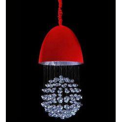LAMPA wisząca LA VISTA LDP 7009D Lumina Deco halogenowa OPRAWA ZWIS z kryształkami crystal czerwony