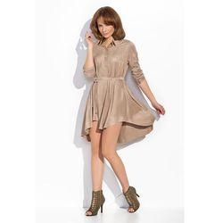 Beżowa Sukienka Szmizjerka z Podpinanym Rękawem