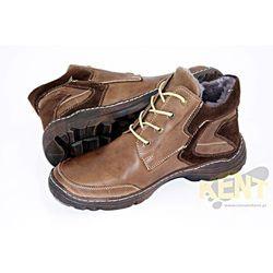 KENT 206 BRĄZOWE - Skórzane buty zimowe, trzewiki