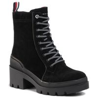 Botki TOMMY HILFIGER - Sporty Chunky Lace Up Bootie FW0FW04338 Black BDS