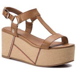 b3eea0deeb7a9 Sandały TOMMY HILFIGER - Elevated Leather Flatform Sandal FW0FW03944 Summer  Cognac 929. eobuwie.pl
