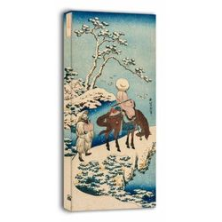 Chinese official pausing on a bridge to view the snow, hokusai - obraz na płótnie