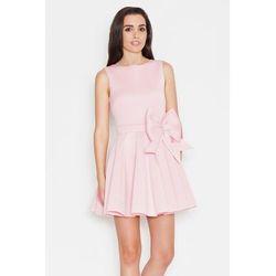 Ekskluzywna piankowa sukienka z kokardą różowa