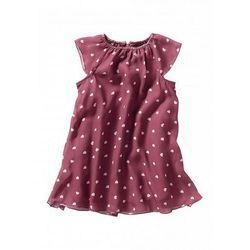 Sukienka szyfonowa bonprix jeżynowo-stary róż z nadrukiem
