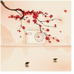 Naklejka orientalny styl malowania, Śliwa na wiosnę