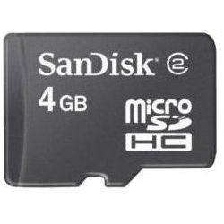 Karta SANDISK microSDHC 4GB Class 2 + Adapter SD
