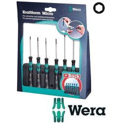 WERA Wkrętaki precyzyjne sześciokątne (imbusowe) 6cz. +stojak Kraftform Micro 2052/6 (05118156001)