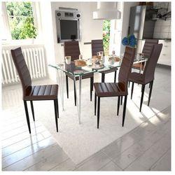 6 wysokich, brązowych krzeseł do jadalni + stół ze szklanym blatem Zapisz się do naszego Newslettera i odbierz voucher 20 PLN na zakupy w VidaXL!