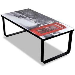 vidaXL Szklany stolik kawowy z nadrukiem budki telefonicznej Darmowa wysyłka i zwroty