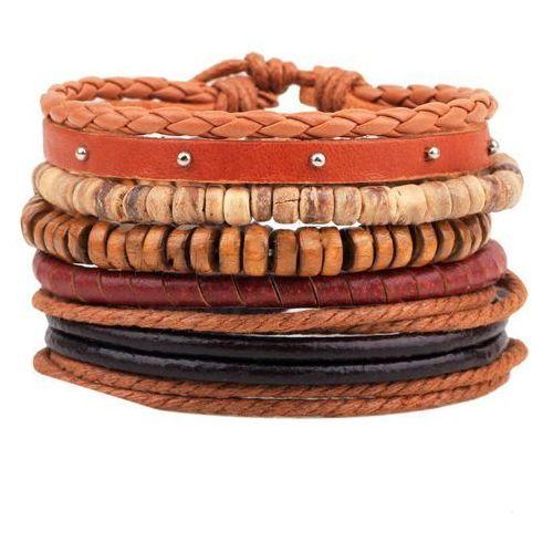 544601b5931f6f BRANSOLETKA męska SKÓRA sznurek koraliki drewno - porównaj zanim kupisz