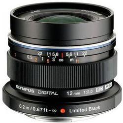 Karta kurier gratis OLYMPUS M. 12 mm F2 czarny obiektyw mocowanie Micro 4/3
