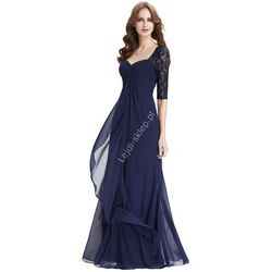 Granatowa długa suknia   suknia dla mamy Panny Młodej, suknia z rękawkami