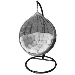 Miloo :: Fotel wiszący Cocoon beżowo-szary z jasną poduszką - szaro-beżowy