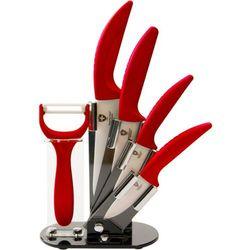 4 Elem. Zestaw Noży Ceramicznych ze Stojakiem + Obieraczka - RL-C4ST RED
