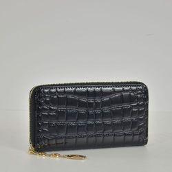 Duży lakierowany damski portfel - czarny