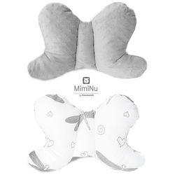 Poduszka podróżna antywstrząsowa, Motylek Minky, szary + ważki, 45x29 cm Darmowa dostawa do sklepów SMYK