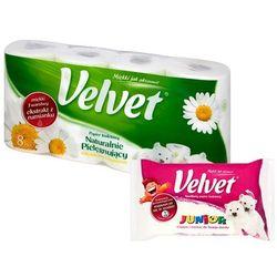 Zestaw VELVET 8szt XXL Naturalnie Pielęgnujący Papier toaletowy+ nawil